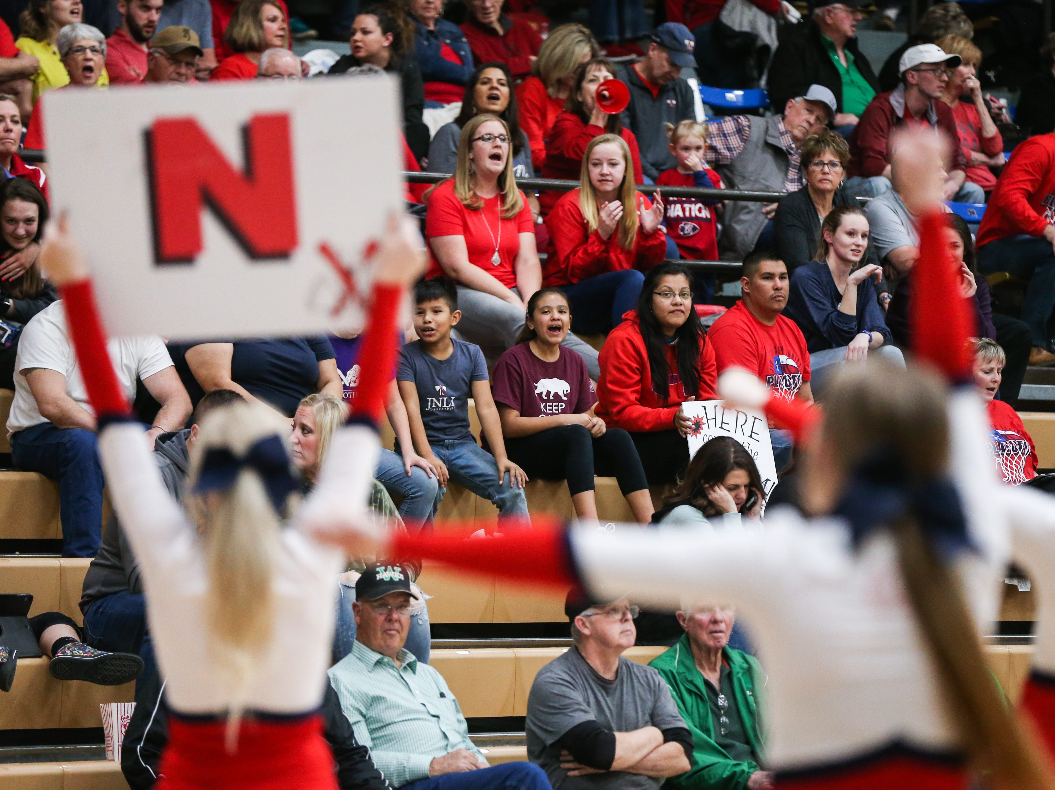 Jim Ned's cheer gets the fans going during the I-3A regional tournament against Idalou Friday, Feb. 22, 2019, at Wayland Baptist University in Plainview.