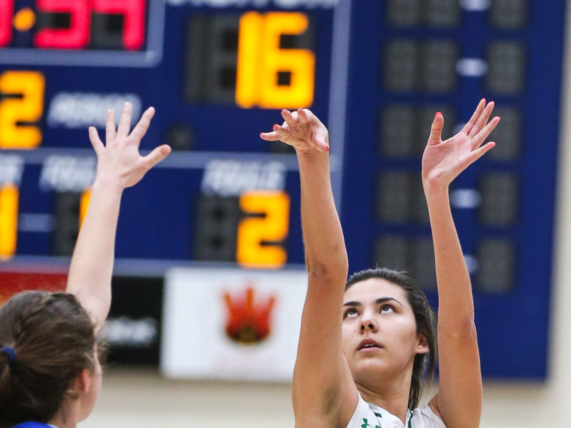 Wall's Samantha Rocha shoots during the 1-3A regional tournament against Brock Friday, Feb. 22, 2019, at Wayland Baptist University in Plainview.
