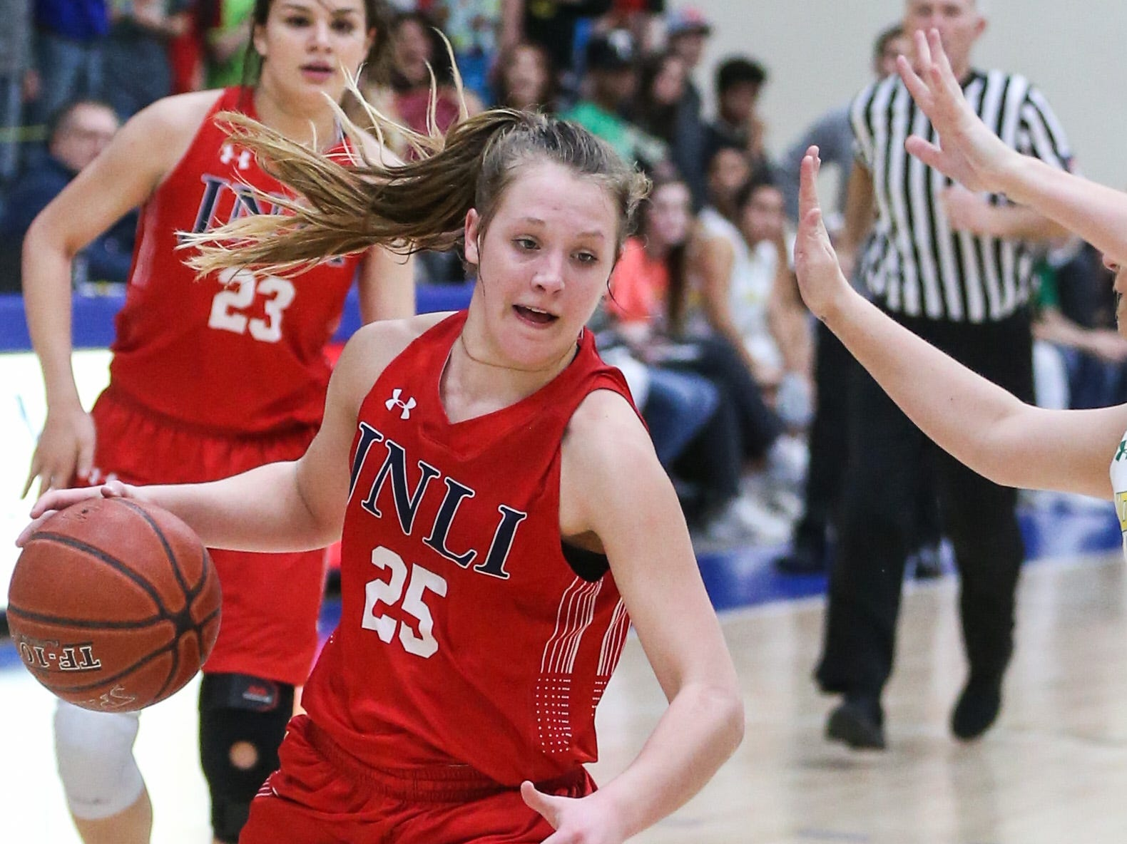 Jim Ned's Claire Graham dribbles around Idalou during the I-3A regional tournament Friday, Feb. 22, 2019, at Wayland Baptist University in Plainview.