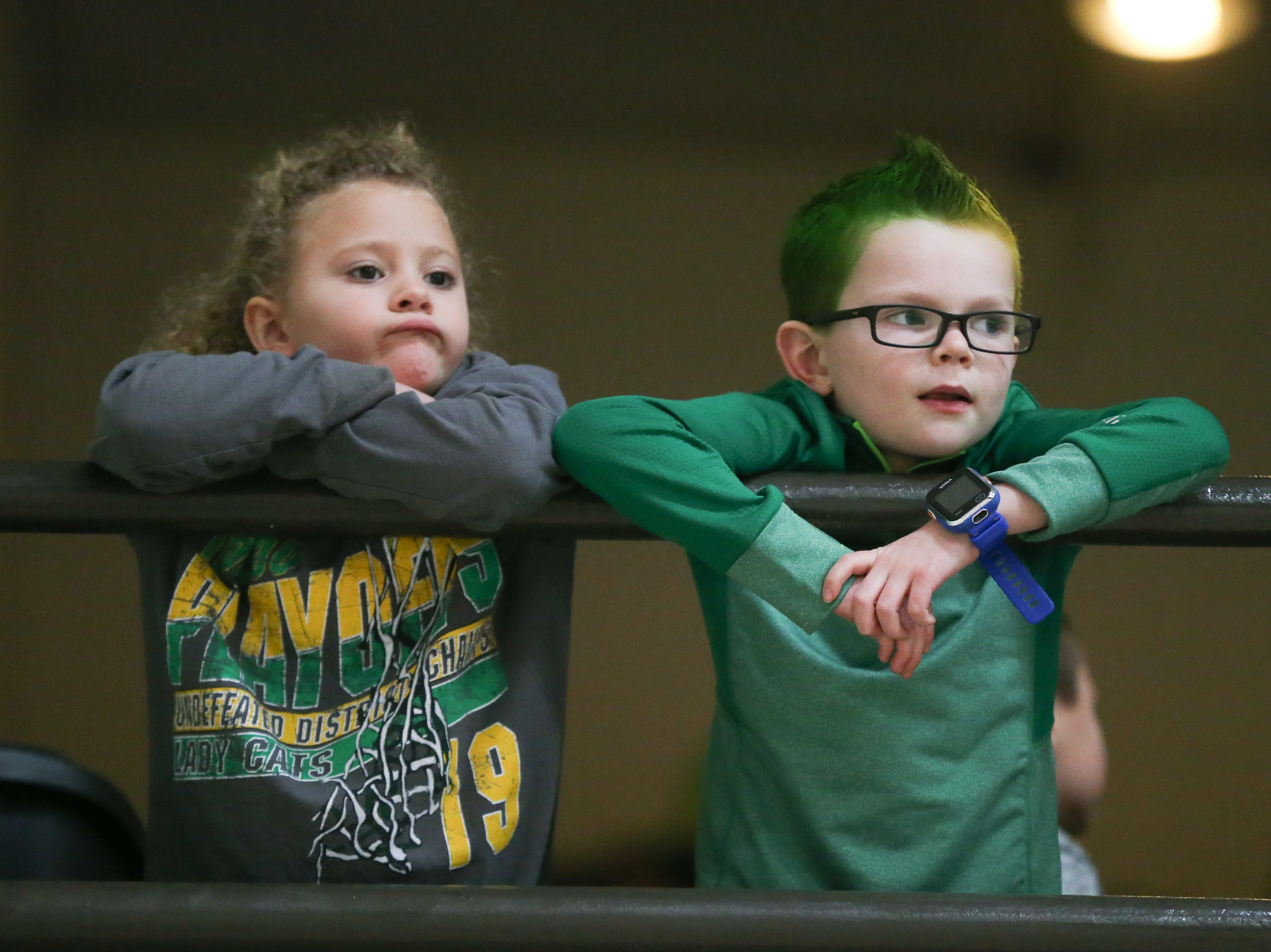 Wall fans watch the 1-3A regional tournament against Brock Friday, Feb. 22, 2019, at Wayland Baptist University in Plainview.