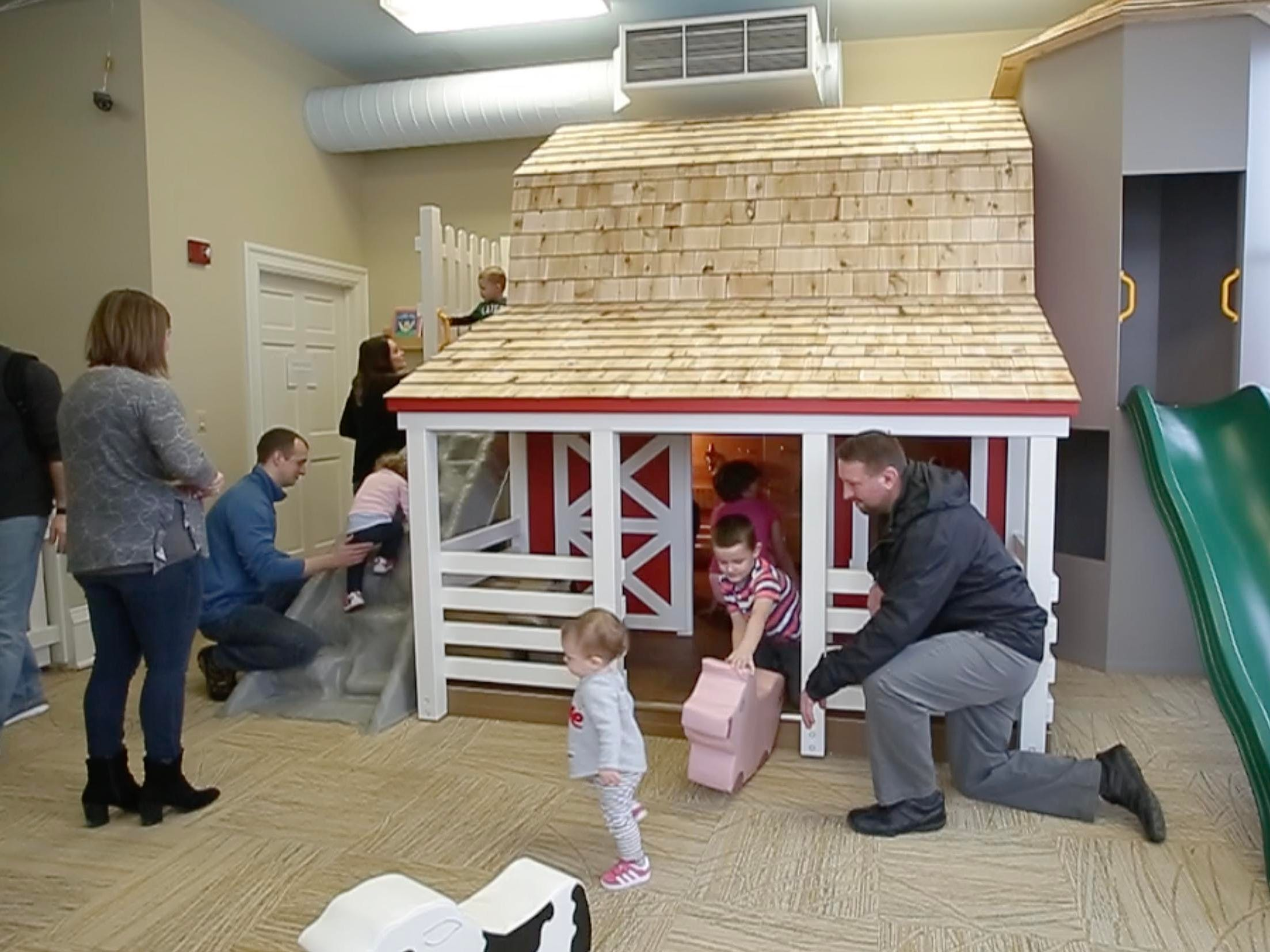 Youngsters play in the new Toddler Barnyard at the Above and Beyond Children's Museum, Saturday, February 23, 2019, in Sheboygan, Wis.