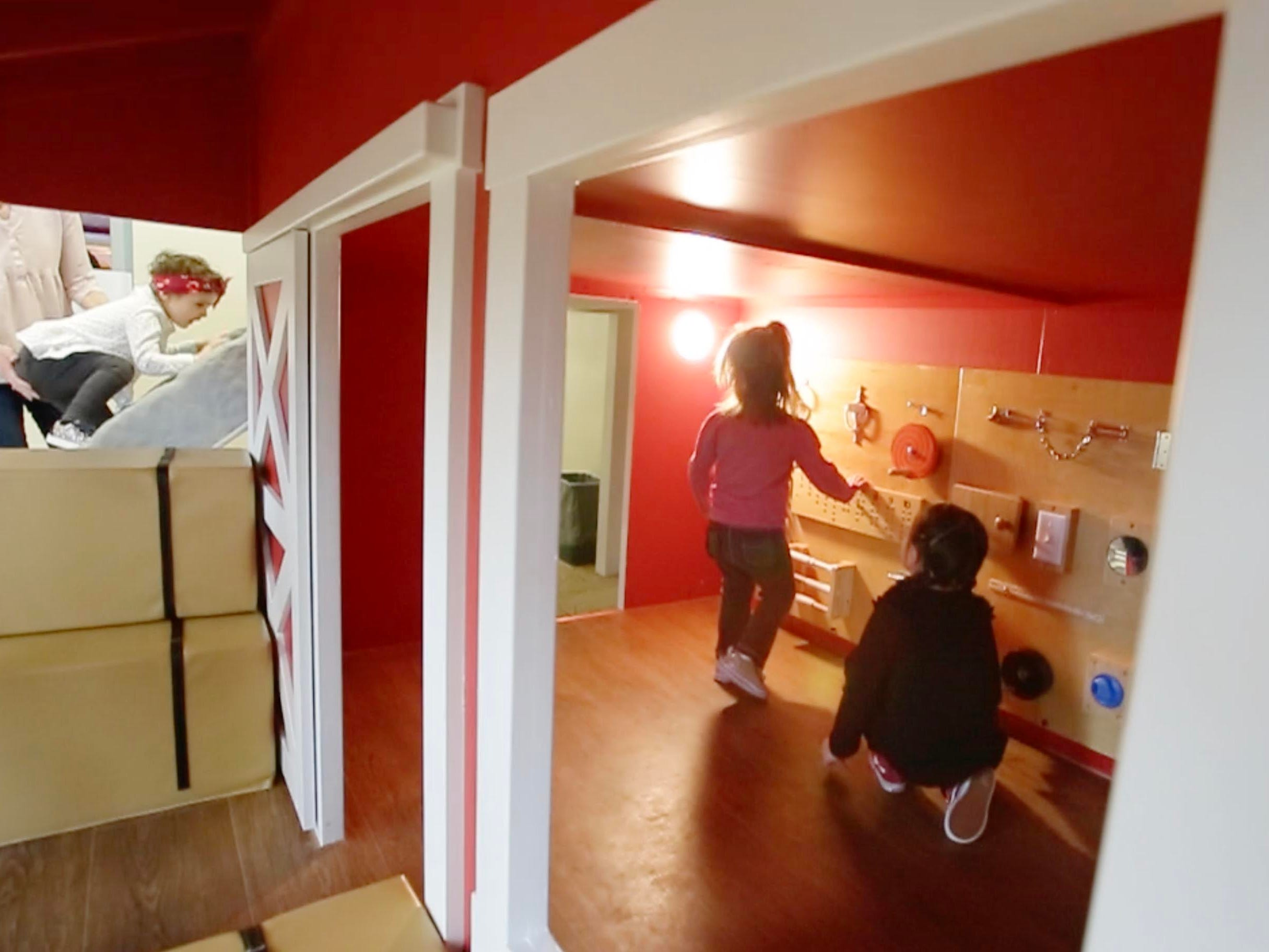 There are things for youngsters to do inside the Toddler Barnyard at the Above and Beyond Children's Museum, Saturday, February 23, 2019, in Sheboygan, Wis. The new exhibit opened Saturday.
