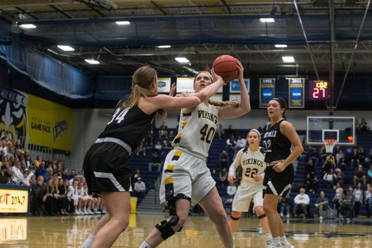 Augustana's Shelby Selland (40) prepares to shoot the ball during a game against USF, Friday, Feb. 22, 2019 in Sioux Falls, S.D.