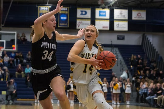 Augustana's Abby Hora (14) dribbles the ball past USF's Krystal Carlson (34) during a game, Friday, Feb. 22, 2019 in Sioux Falls, S.D.