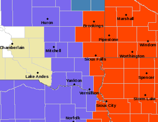 The following counties are in a blizzard warning from 12 a.m. to 6 p.m. Sunday: Nobles, Jackson, Pipestone, Rock, Brookings, Lake, Moody, Minnehaha and Lincoln counties.