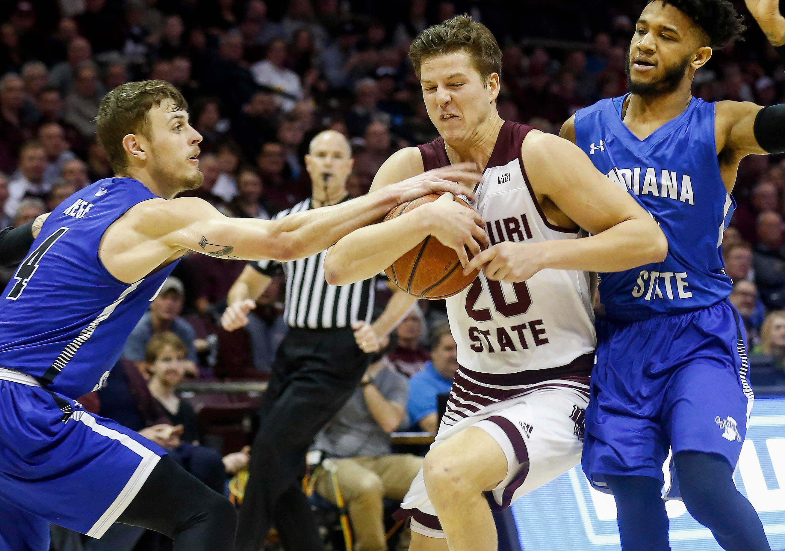Ryan Kreklow, of Missouri State, drives to the net during the Bears' game against Indiana State at JQH Arena on Saturday, Feb. 23, 2019.