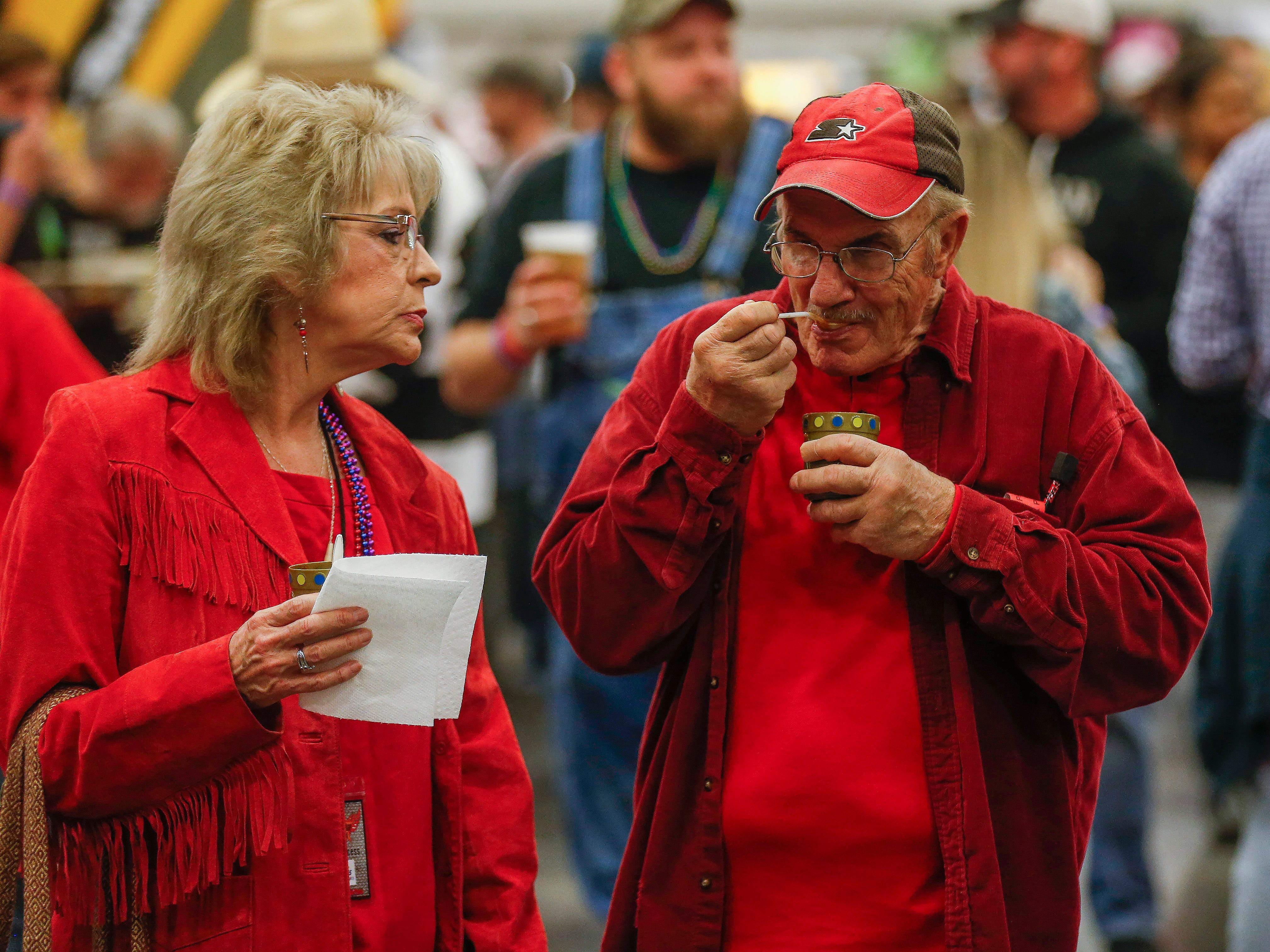 Kay and Frank Muggenburg, of Ozark, sample the chili during the 2019 Sertoma Chili Cook-Off at the Springfield Expo Center on Saturday, Feb. 23, 2019.
