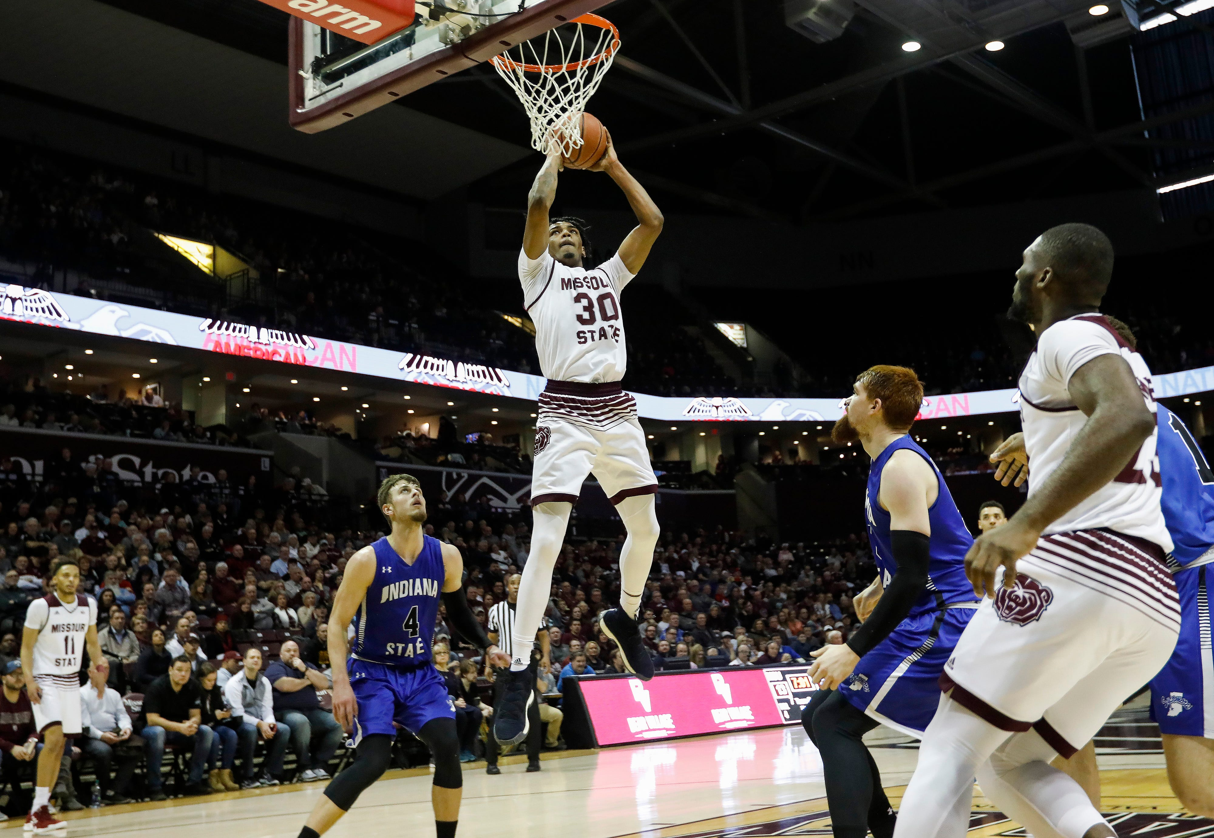 Tuilo Da Silva, of Missouri State, dunks the ball during the Bears' game against Indiana State at JQH Arena on Saturday, Feb. 23, 2019.