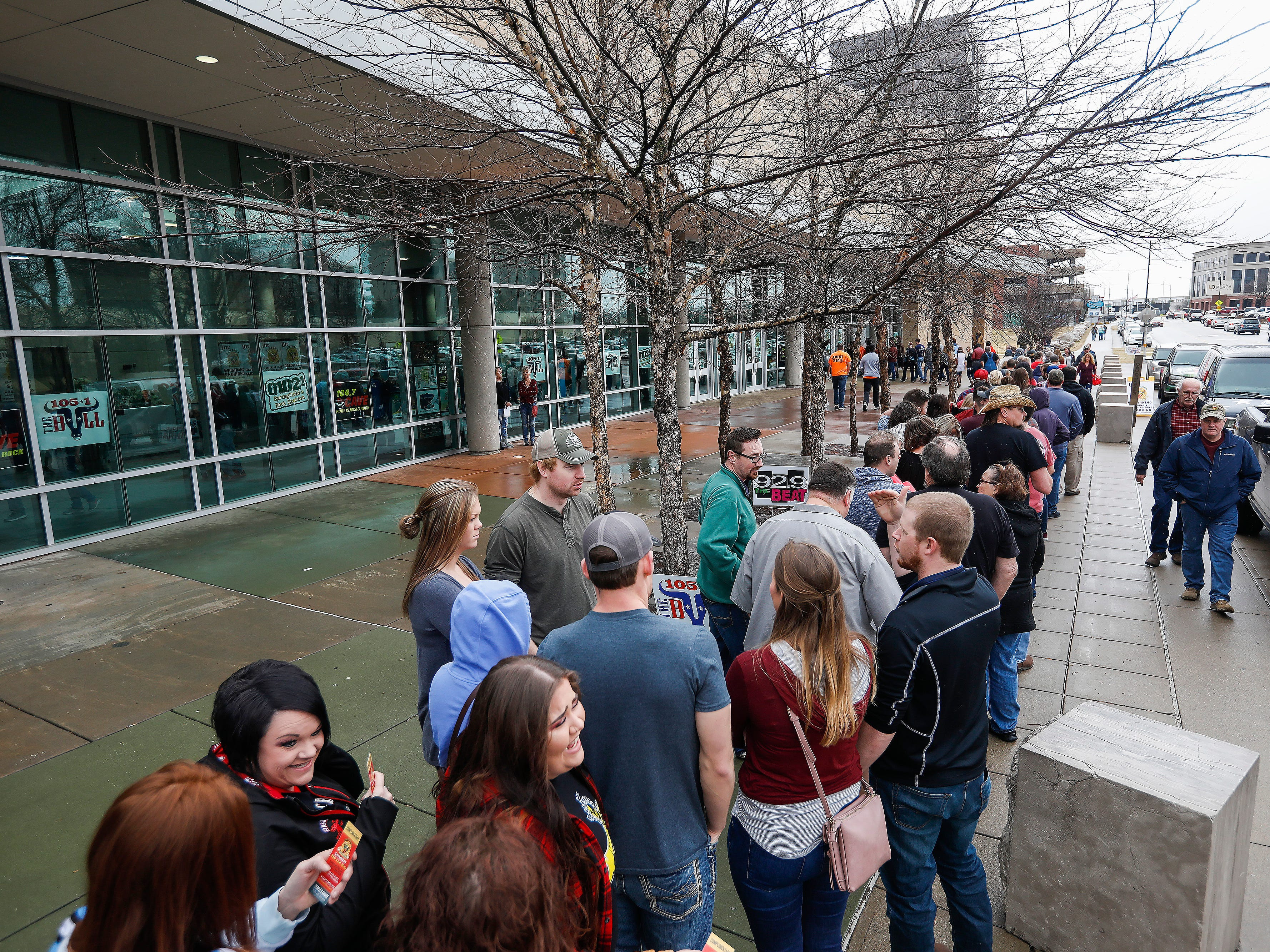 A long line of people wait to get into the 2019 Sertoma Chili Cook-Off at the Springfield Expo Center on Saturday, Feb. 23, 2019.