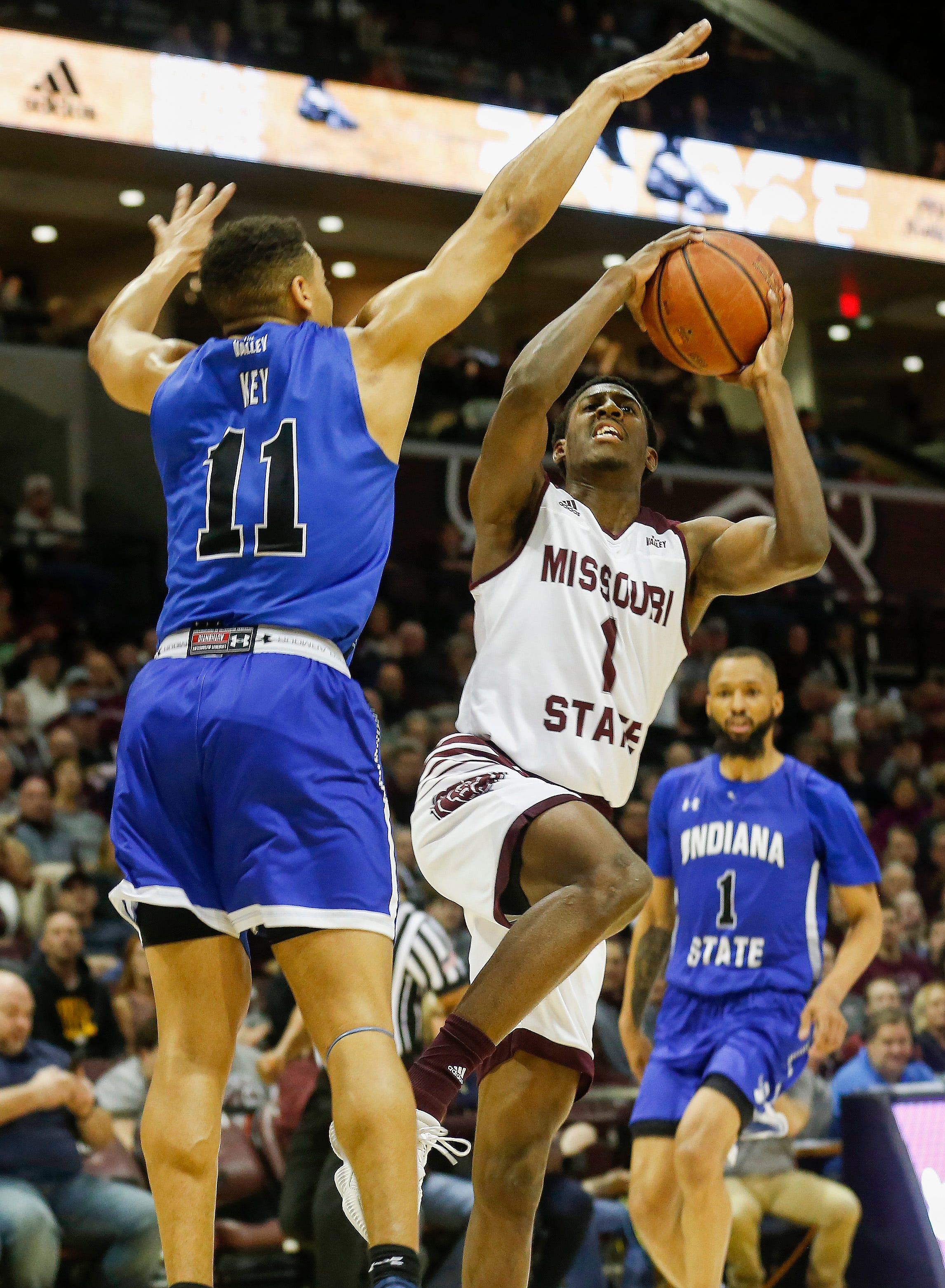 Keandre Cook, of Missouri State, goes up for the shot during the Bears' game against Indiana State at JQH Arena on Saturday, Feb. 23, 2019.