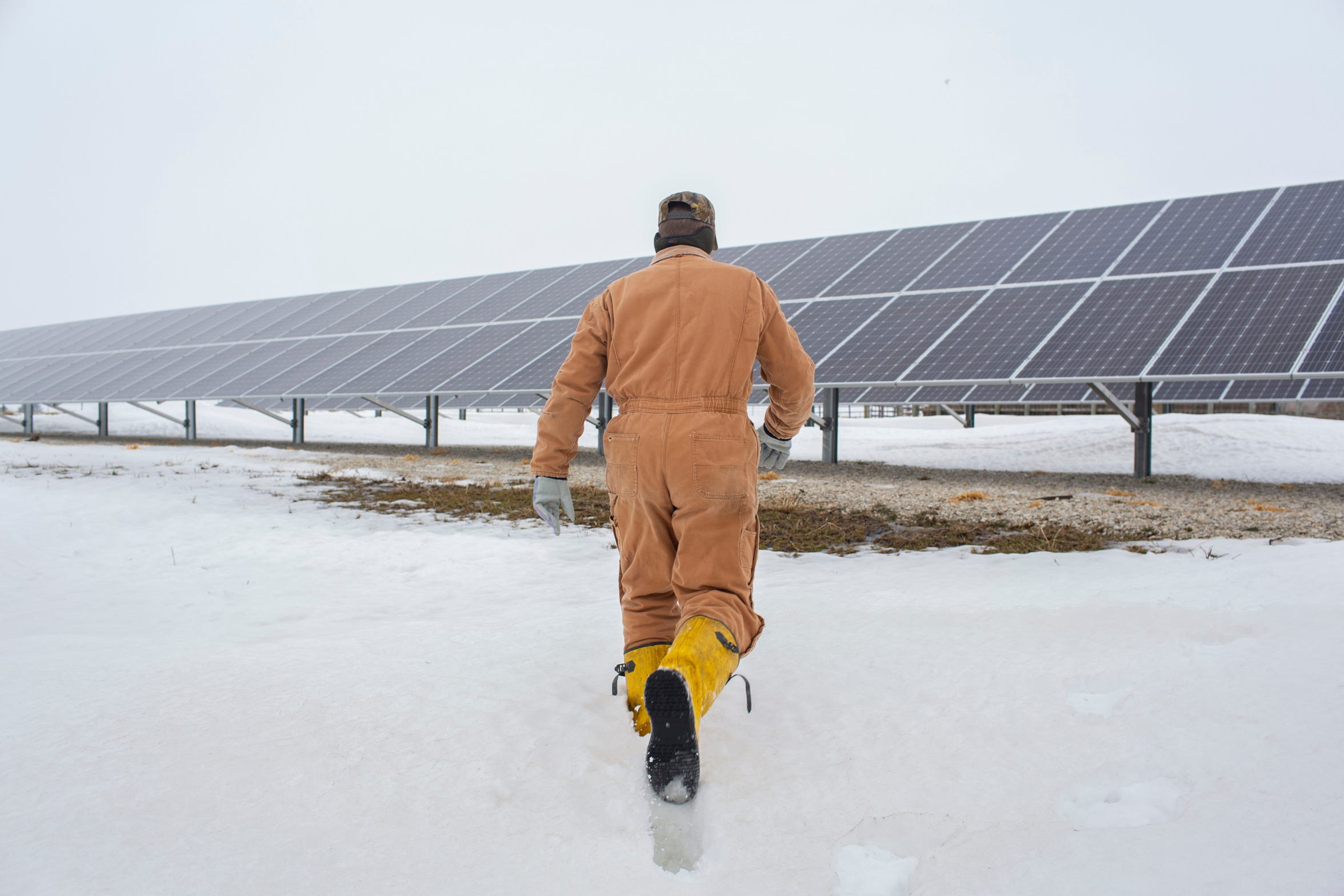 Randy DeBaillie has installed solar panels at his farm in Orion, Ill. He says they produce enough energy to run his entire operation.