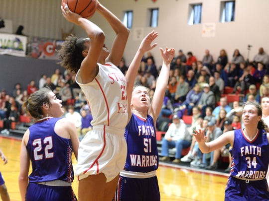 Stuart Hall's Jade Wimbish goes up strong to the basketball Saturday afternoon during the VACA state championship game.
