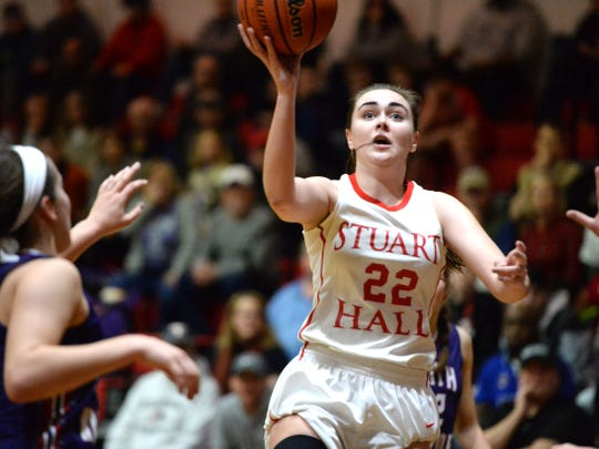 Stuart Hall's Lexie Lee puts up a shot Saturday afternoon during the VACA state championship game.