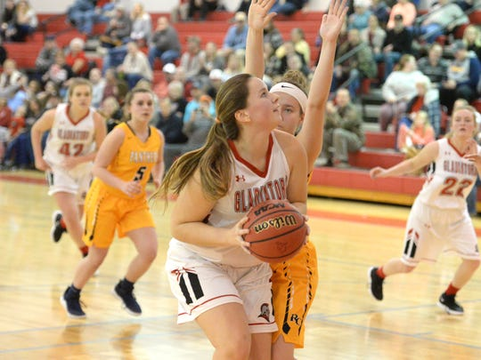 Riverheads' Berkeley Tyree works inside against a Rappahannock County defender Friday night in the Region 1B girls basketball semifinals.