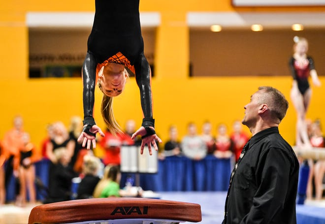 Kaija Ludewig competes for Tech in the vault during 2019 Minnesota gymnastics Class 2A team competition Friday, Feb. 22, at Maturi Pavilion in Minneapolis.