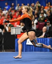 Kaija Ludewig competes in the floor exercise during 2019 Minnesota gymnastics Class 2A team competition Friday, Feb. 22, at Maturi Pavilion in Minneapolis.