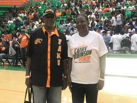 Guard Waite Bellamy, right, and forward Cathy Robinson had their jerseys retired on Saturday, Feb. 23, 2019 at the Al Lawson Multipurpose Center. Waite wore No. 25 from 1960-63. Robinson sported No. 33 from 1992-96.