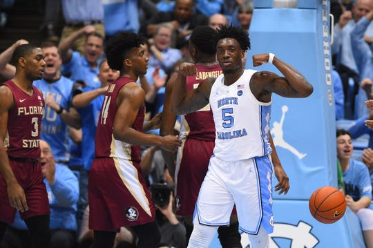 Feb 23, 2019; Chapel Hill, NC, USA; North Carolina Tar Heels forward Nassir Little (5) reacts after scoring a basket in the first half at Dean E. Smith Center. Mandatory Credit: Bob Donnan-USA TODAY Sports