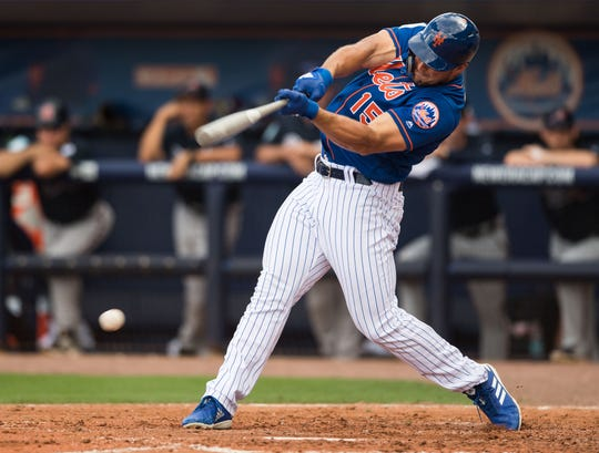 Tim Tebow grounds out during an at-bat for the New York Mets as they take on the Atlanta Braves during their first spring training game Saturday, Feb. 23, 2019, at First Data Field in Port St. Lucie.