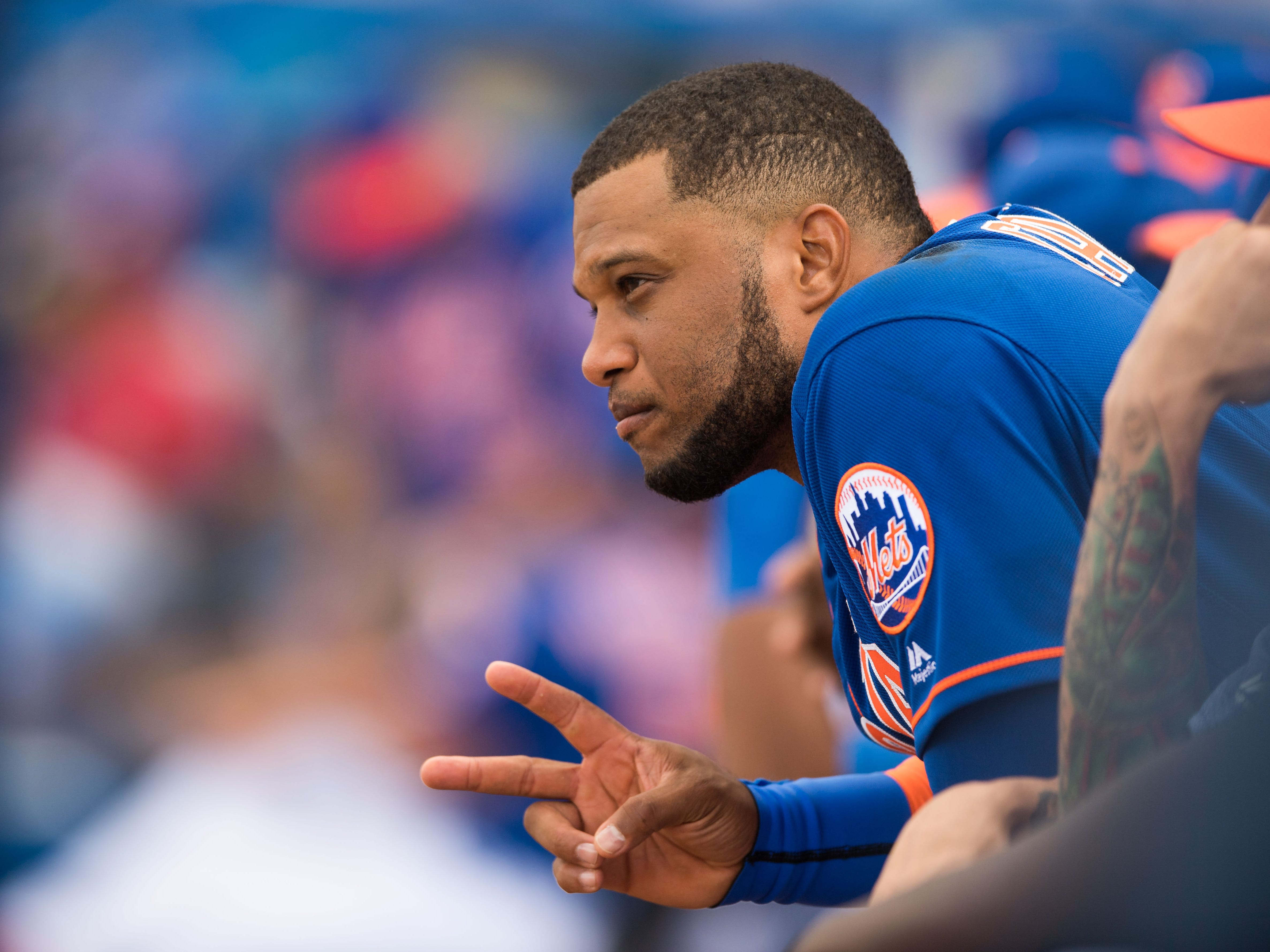 New York Mets infielder Robinson Canó is photographed in the home dugout between innings against the Atlanta Braves during their first spring training game Saturday, Feb. 23, 2019, at First Data Field in Port St. Lucie.