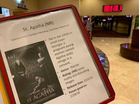 """A description of the film """"St. Agatha"""" sits in the lobby of Majestic 11 in Vero Beach Feb. 22, 2019."""