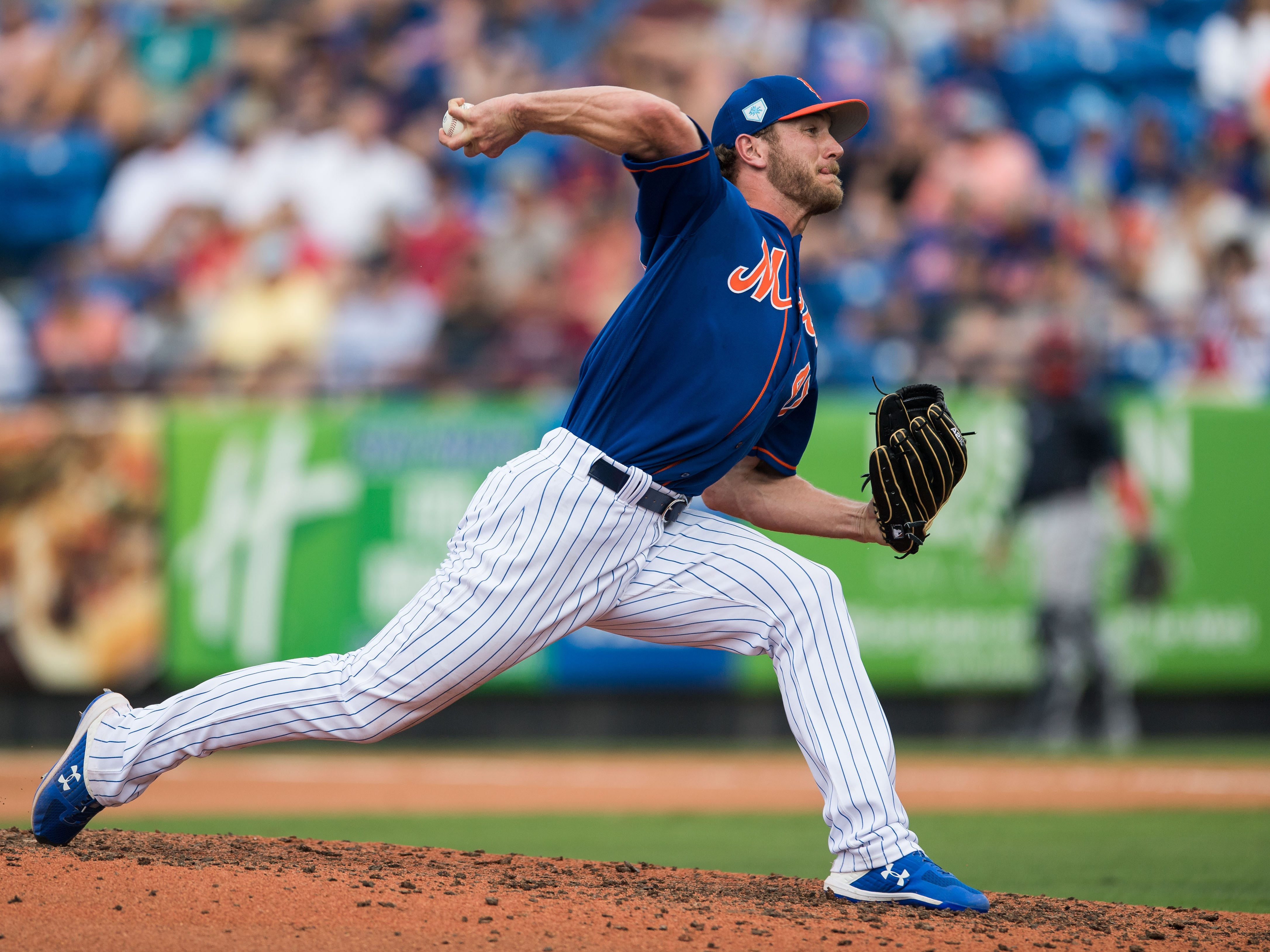 New York Mets pitcher Drew Gagnon pitches in the sixth inning against the Atlanta Braves during their opening spring training game Saturday, Feb. 23, 2019, at First Data Field in Port St. Lucie.