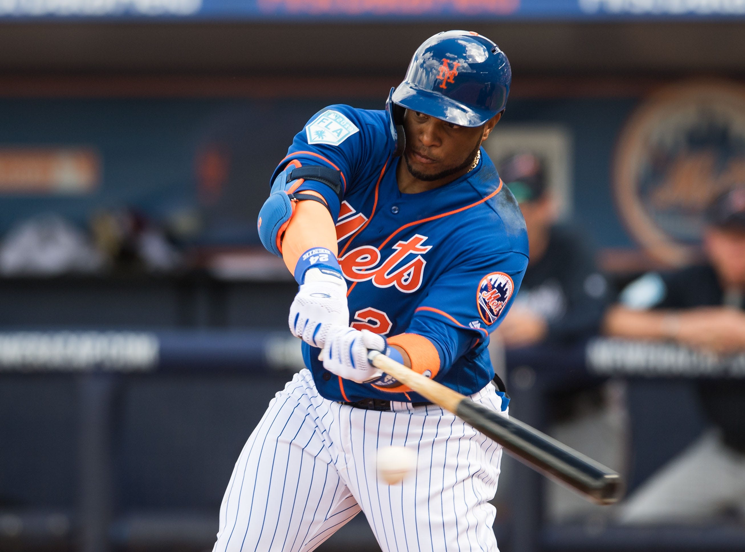 New York Mets infielder Robinson Canó bats against the Atlanta Braves during their first spring training game Saturday, Feb. 23, 2019, at First Data Field in Port St. Lucie.
