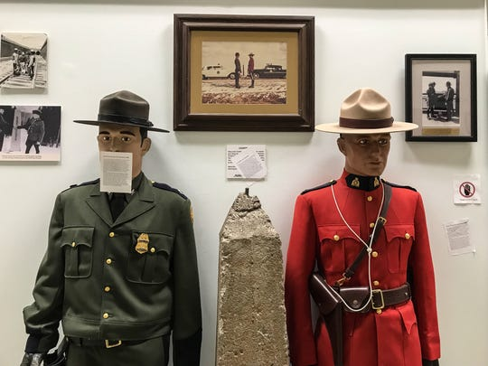 A mannequin in the National Border Patrol Museum was among the displays defaced with stickers.