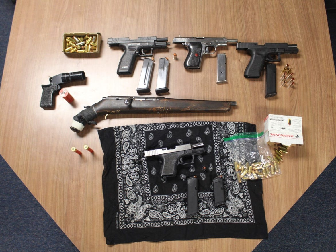 Illegally-possessed guns and ammunition were recovered from four men in a Santa Paula gang bust on Thursday, authorities said.