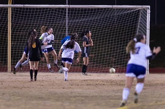 Mission Oak's Brianna Alvarez (14) reacts to scoring what would be the winning goal against Golden West in a Central Section Division III championship soccer game on Friday, February 22, 2019.