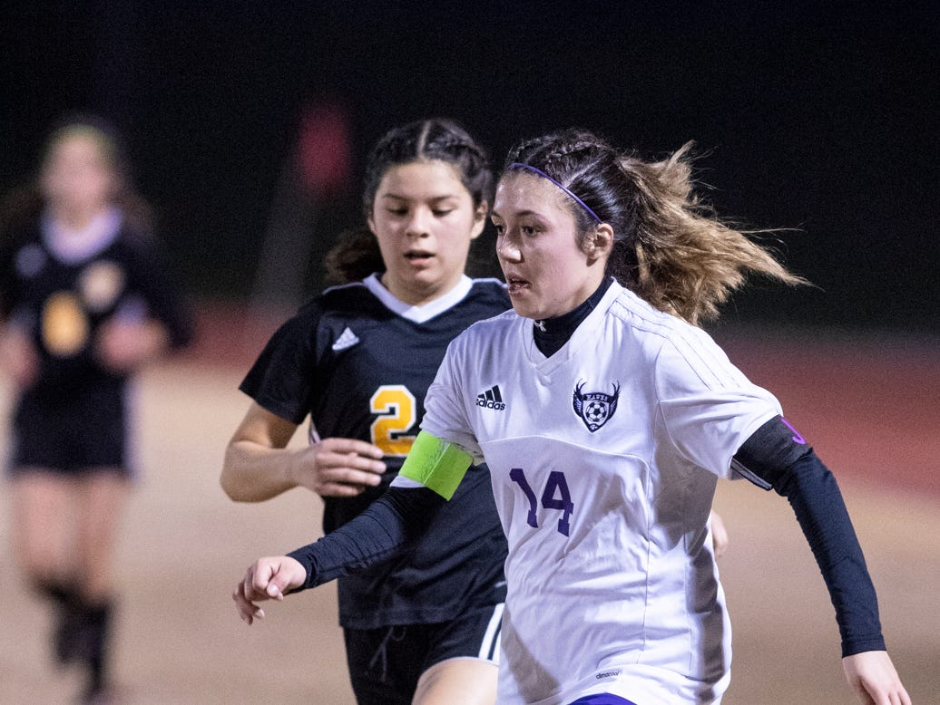 Mission Oak's Brianna Alvarez, right, battles with Golden West's Ymari Vasquez in a Central Section Division III championship soccer game on Friday, February 22, 2019. Alvarez scored to give the Hawks the 1-0 win.