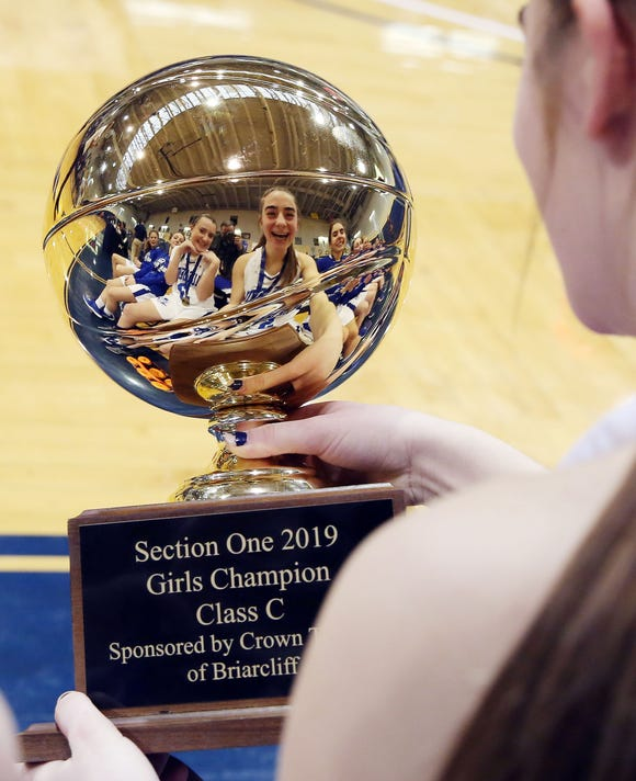 Haldane's Isabela Monteleone and Julia Rotando have some fun enjoying the gold ball after defeating Keio to win the Section 1 girls Class C championship at Pace University in Pleasantville Feb. 23,  2019.