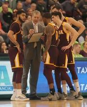 Iona head coach Tim Cluess diagrams a play during a MAAC basketball game at Manhattan College Feb 22, 2019. Iona defeated Manhattan 66-52.