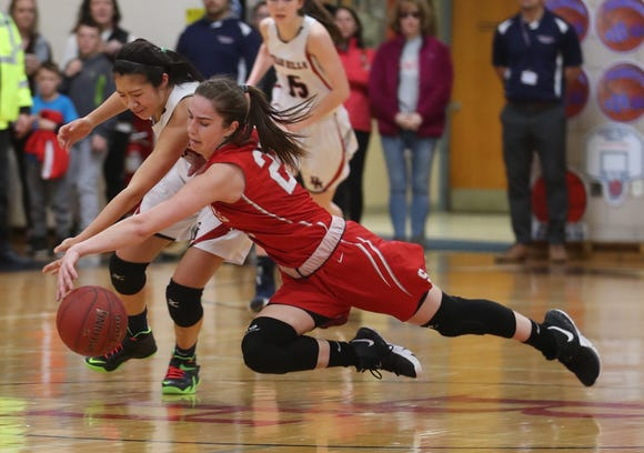 Jen Mui of Byram Hills battles Hannah Angelini of Somers during the Section 1 Class A girls basketball quarterfinal at Byram Hills High School Feb. 23, 2019. Somers defeated Byram Hills 55-38.