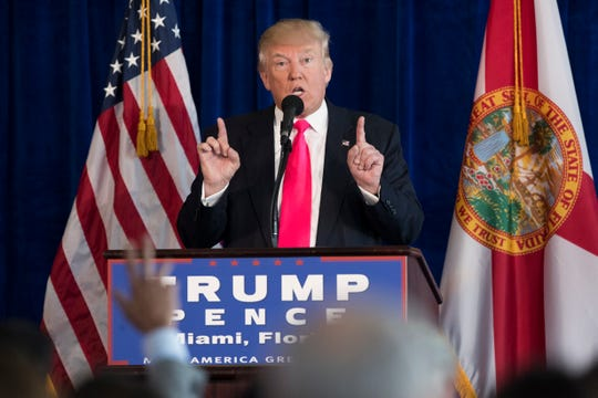 In this July 27, 2016, file photo, then Republican presidential candidate Donald Trump speaks during a news conference at Trump National Doral in Doral, Fla. (AP Photo/Evan Vucci, File)