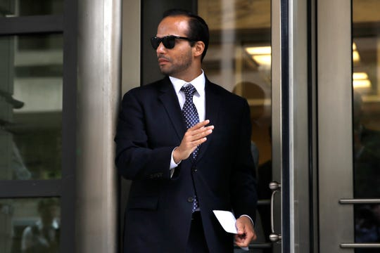 FILE - In this Friday, Sept. 7, 2018, file photo, former Donald Trump presidential campaign foreign policy adviser George Papadopoulos leaves federal court after he was sentenced to 14 days in prison, in Washington.  (AP Photo/Jacquelyn Martin, File)