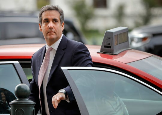 FILE - In this Sept. 19, 2017, file photo, Michael Cohen, President Donald Trump's personal attorney, steps out of a cab during his arrival on Capitol Hill in Washington. (AP Photo/Pablo Martinez Monsivais, File)