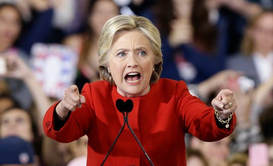 FILE - In this Nov. 8, 2016, file photo, then-Democratic presidential candidate Hillary Clinton speaks during a campaign rally in Raleigh, N.C. (AP Photo/Gerry Broome, File)