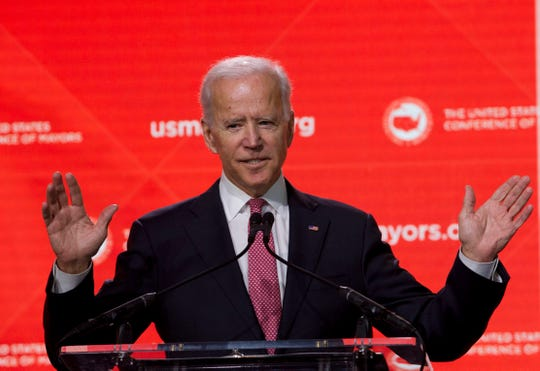 "In this Jan. 24, 2019, file photo, Former Vice President Joe Biden speaks during the U.S. Conference of Mayors Annual Winter Meeting in Washington. Democratic presidential candidates are touting their support for ""Medicare-for-all,"" higher taxes on the wealthy and a war on climate change. But foreign policy is largely taking a back seat. Biden is seizing on that opening to position himself as the global policy expert if he decides to run for president. (AP Photo/Jose Luis Magana, File)"