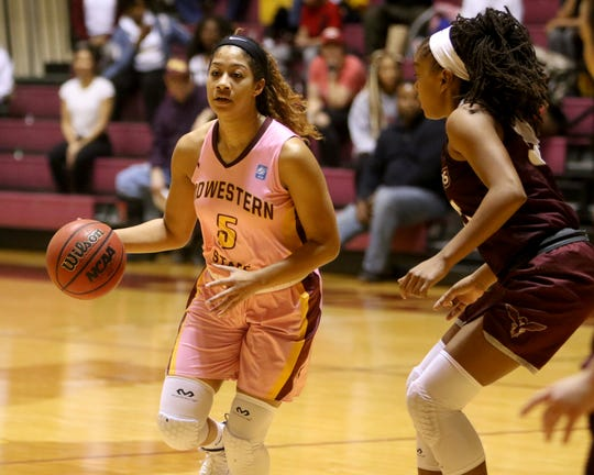 Midwestern State's Kityana Diaz dribbles in the game against Texas Woman's Saturday, Feb. 23, 2019, in D.L. Ligon Coliseum at MSU Texas.
