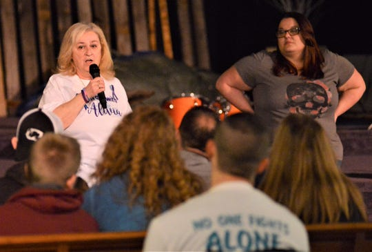 Marlene Gentile, Alivia Gentile's grandmother, speaks during an event to remember Alivia and others affected by suicide on Saturday at the House of Grace Church. The Gentle Giants of Ohio, a group founded by Corri Willison (right), held the event.