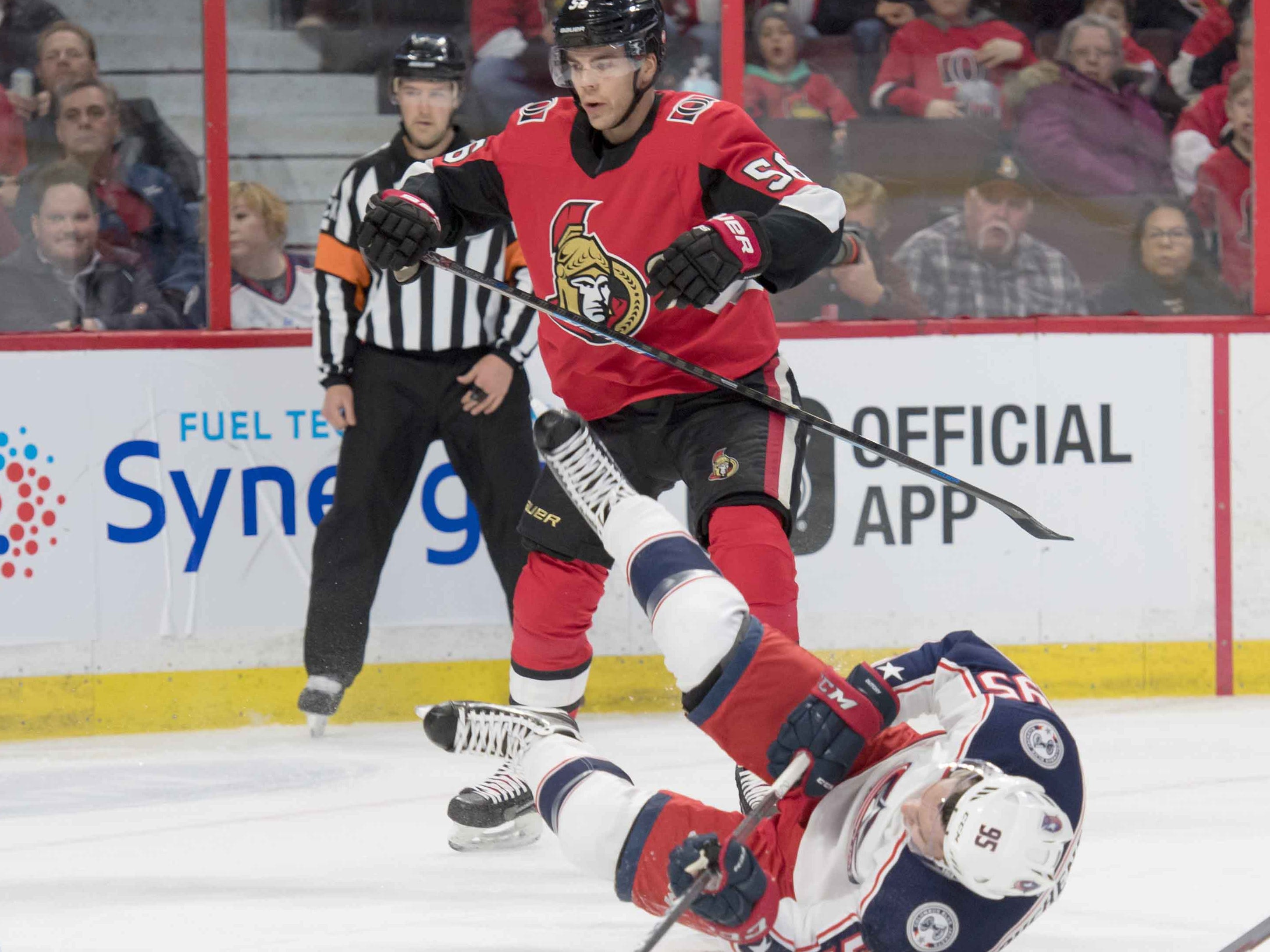 Feb. 22: Columbus Blue Jackets center Matt Duchene, traded by the Ottawa Senators earlier in the day, is spilled by former teammate Maxime Lajoie.