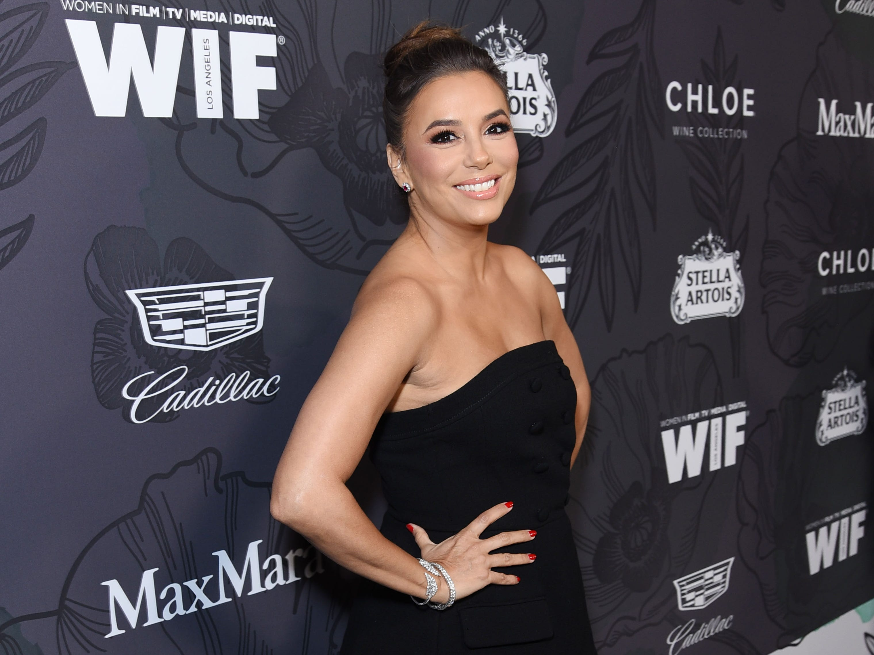 BEVERLY HILLS, CALIFORNIA - FEBRUARY 22:  Eva Longoria attends the 12th Annual Women in Film Oscar Nominees Party Presented by Max Mara with additional support from Chloe Wine Collection, Stella Artois and Cadillac at Spring Place on February 22, 2019 in Los Angeles, California. (Photo by Presley Ann/Getty Images for Women In Film) ORG XMIT: 775291745 ORIG FILE ID: 1131511673