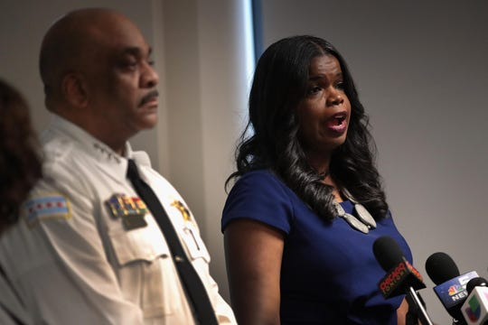 Chicago Police Superintendent Eddie Johnson and Cook County State's Attorney Kim Foxx announce sex-abuse charges filed against singer R. Kelly, on Feb. 22, 2019 in Chicago.