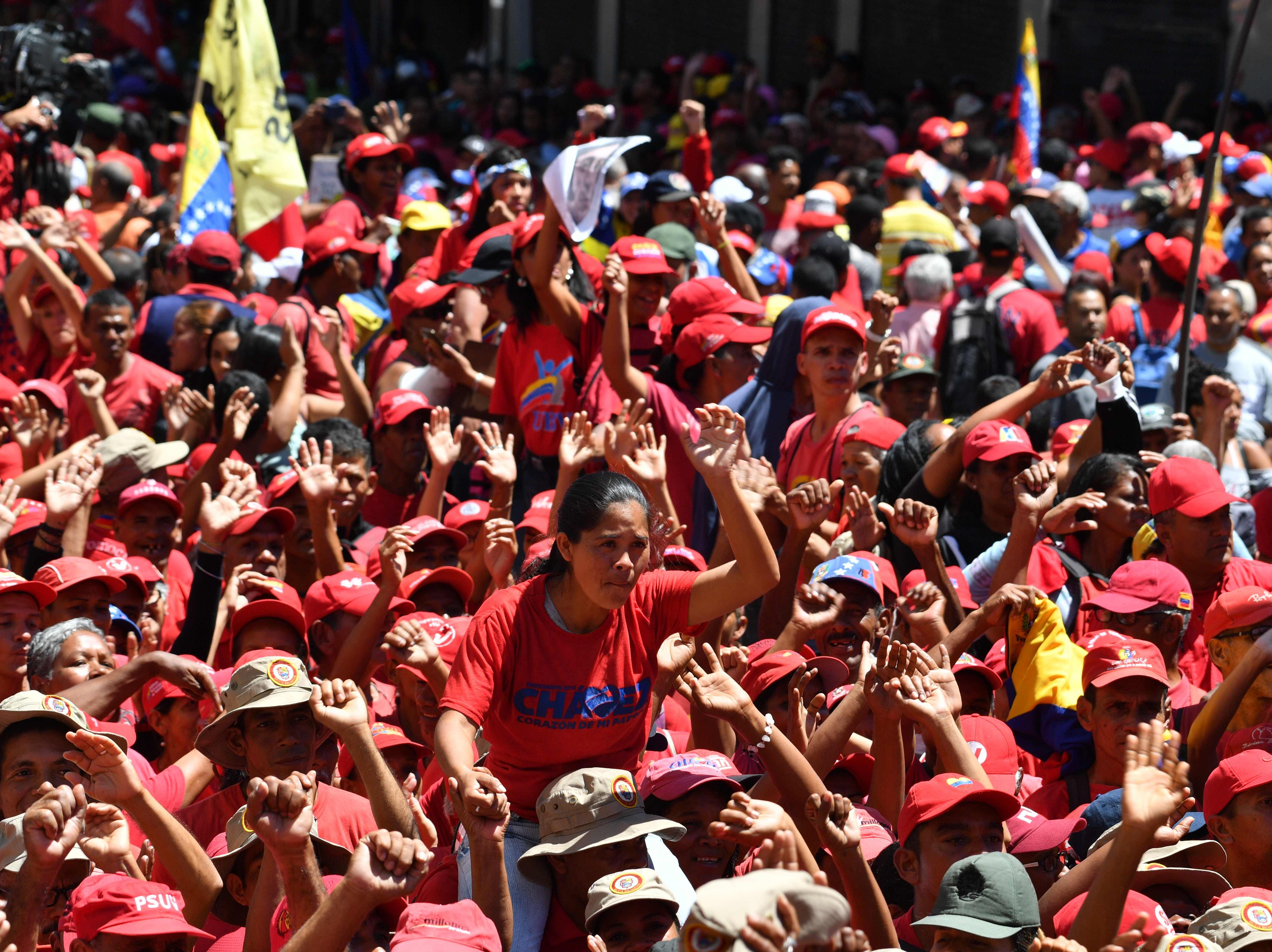 Supporters of Venezuelan President Nicolas Maduro take part in a march in Caracas, on Feb. 23, 2019.