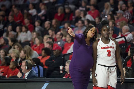Georgia coach Joni Taylor gave birth to a baby girl the morning after a win.