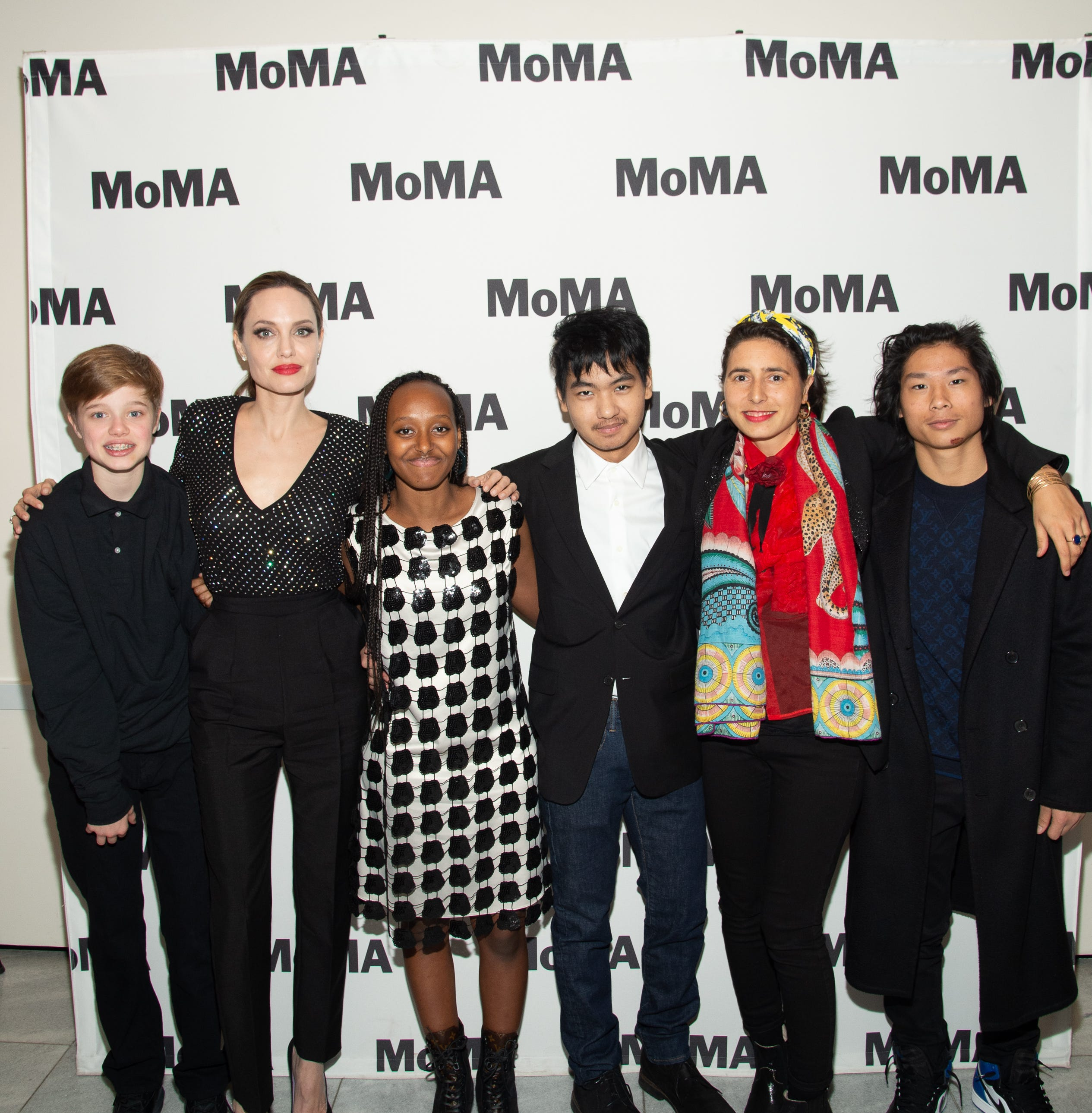 Knox Léon Jolie-Pitt, Angelina Jolie, Zahara Marley Jolie-Pitt, Pax Thien Jolie-Pitt, Prune Nourry and Maddox Chivan Jolie-Pitt attend the Opening Night of MoMA's Doc Fortnight Premiere of Prune Nourry's Serendipity on Feb. 21, 2019 in New York.