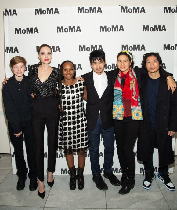 Shiloh Nouvel Jolie-Pitt, Angelina Jolie, Zahara Marley Jolie-Pitt, Pax Thien Jolie-Pitt, Prune Nourry and Maddox Chivan Jolie-Pitt attend the Opening Night of MoMA's Doc Fortnight Premiere of Prune Nourry's Serendipity on Feb. 21, 2019 in New York. (Photo11: Photo by Mark Sagliocco/Getty Images)