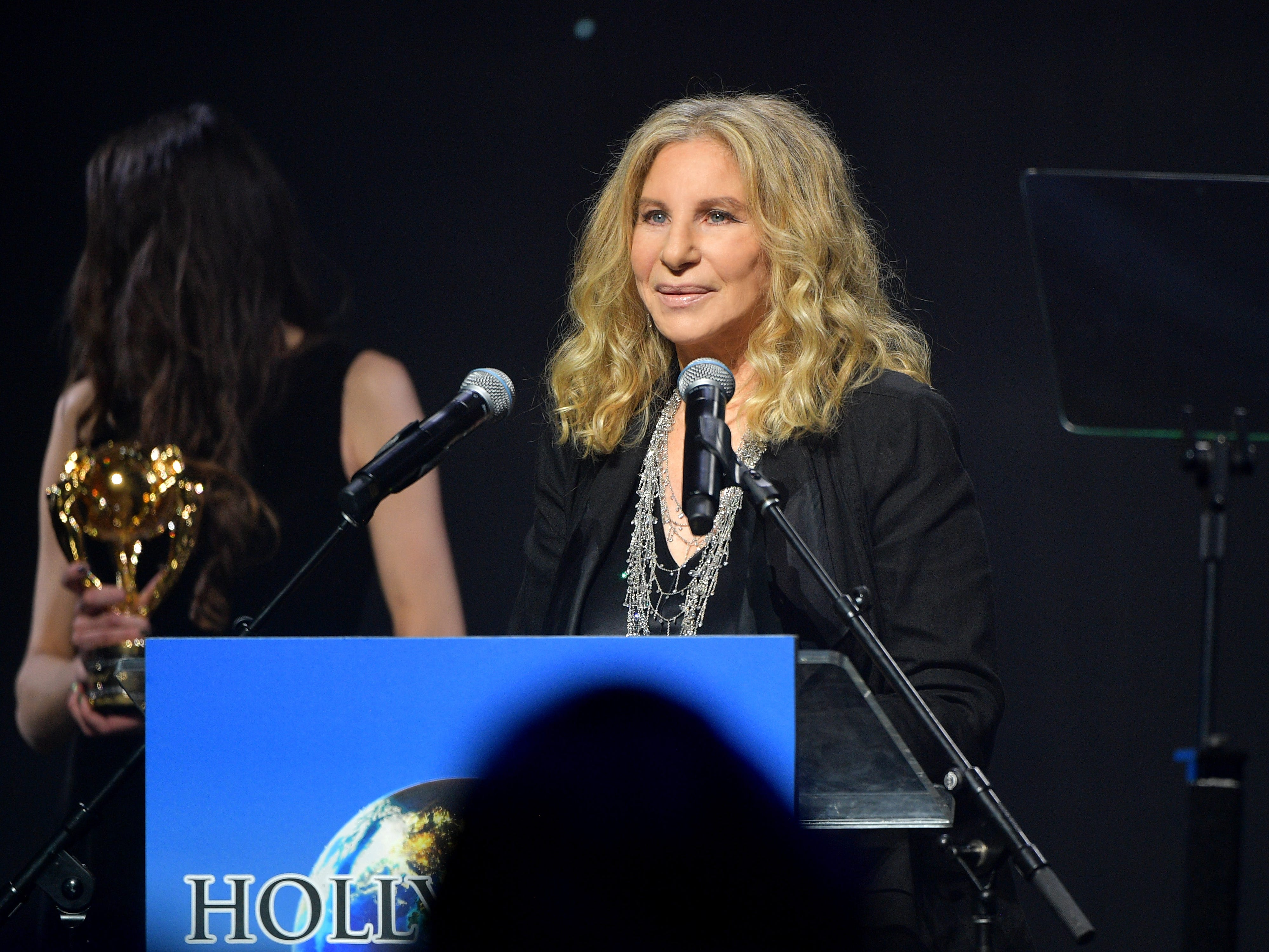 BEVERLY HILLS, CA - FEBRUARY 21:  Barbra Streisand accepts her award onstage at the UCLA IoES honors Barbra Streisand and Gisele Bundchen at the 2019 Hollywood for Science Gala on February 21, 2019 in Beverly Hills, California.  (Photo by Matt Winkelmeyer/Getty Images for UCLA Institute of the Environment & Sustainability) ORG XMIT: 775291341 ORIG FILE ID: 1126683348