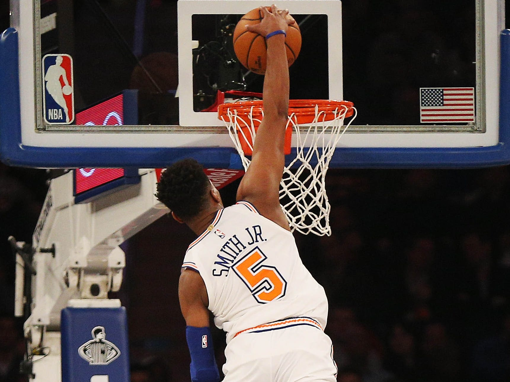 Feb. 22: Knicks guard Dennis Smith Jr. rises up for the thunderous one-handed slam against the T'wolves.